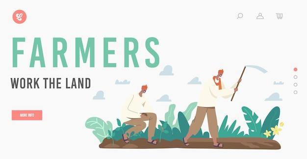 Indyjscy rolnicy pracują nad szablonem landing page. postacie w tradycyjnych ubraniach pracują na plantacji orki pole z motyką i sadzenie sadzonek w glebie. ilustracja wektorowa kreskówka ludzie