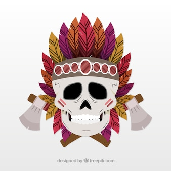 Indyjska czaszka z dwoma dekoracyjnymi osiami