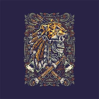 Indyjska czaszka z jaguarem ręcznie rysowane ilustracja na białym tle