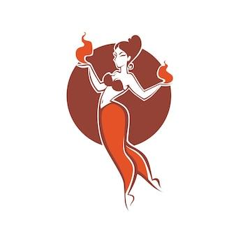 Indyjska dziewczyna tańczy z ogniem, obraz logo, etykieta, godło