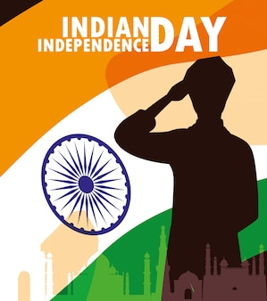 Indyjska etykieta dzień niepodległości zi flagą