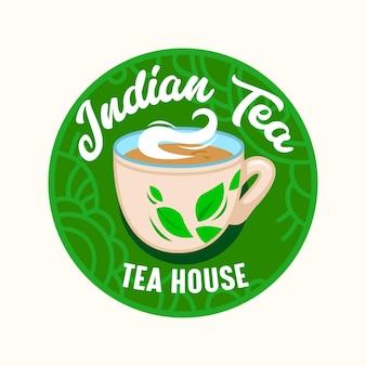 Indyjska herbata ikona, godło z filiżanką na parze i zielonymi liśćmi w okrągłej etykiecie kwiecisty na białym tle. indie tea house, restauracja lub kawiarnia element projektu menu gorący napój. ilustracja wektorowa
