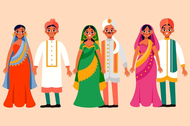 Indyjska kolekcja postaci ślubnych