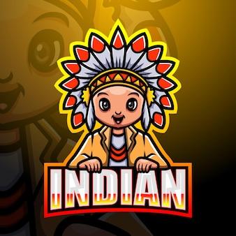 Indyjska maskotka esport ilustracja