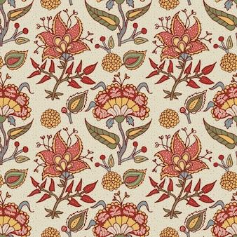 Indyjska ozdoba paisley dla bawełny, tkaniny lniane.