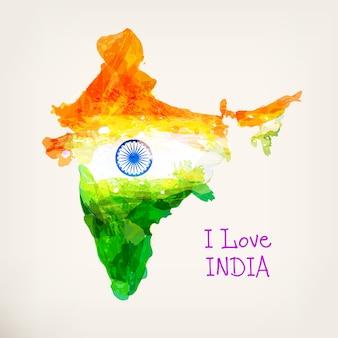 Indyjska ręcznie rysowane akwarela mapa