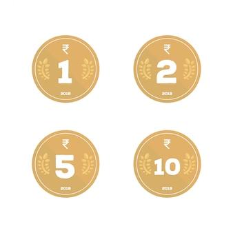 Indyjska rupia ikona monety pakiet desgin