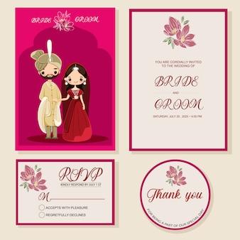 Indyjska ślubna zaproszenie karta