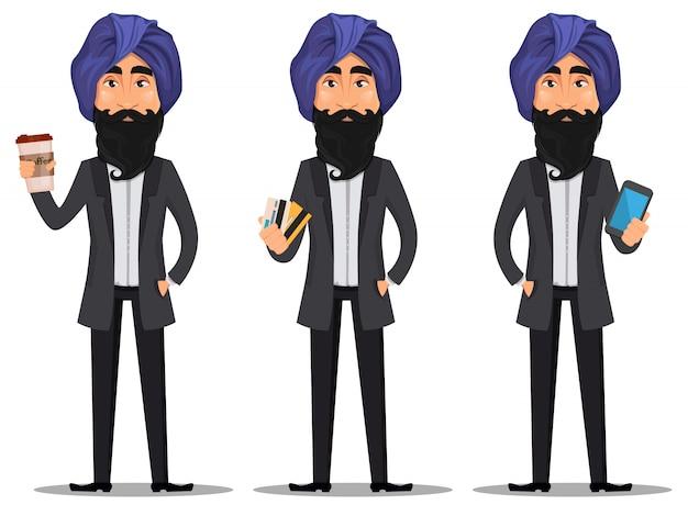 Indyjski biznesmen kreskówka zestaw