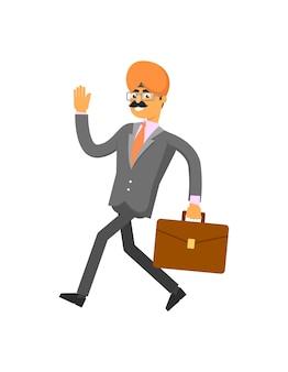 Indyjski biznesmen spieszy do pracy