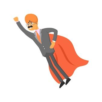 Indyjski biznesmen z płaszczem supermana