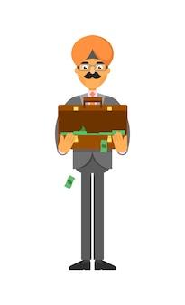 Indyjski biznesmen z walizką pełną pieniędzy