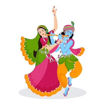 Indyjski bóg pan krishna i radha rani ilustracja postaci premium wektorów