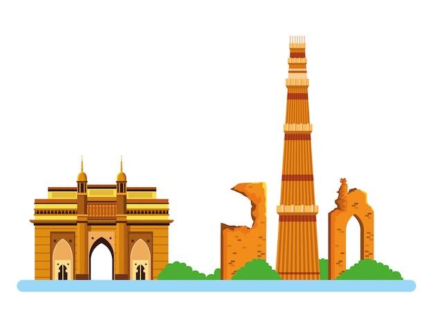 Indyjski budynek zabytków ikona kreskówka