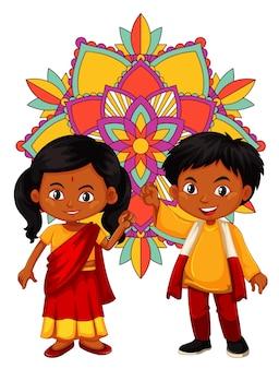 Indyjski chłopiec i dziewczynka z wzorem mandali w tle