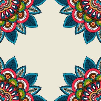 Indyjski doodle kwiatowy rogi ramki