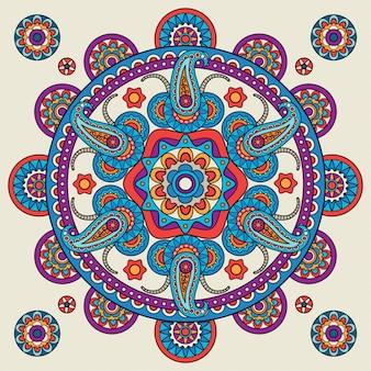Indyjski doodle paisley boho mandala
