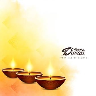 Indyjski festiwal happy diwali jasne żółte tło