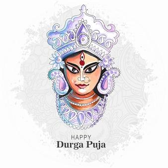 Indyjski festiwal religii durga puja tło karty twarzy
