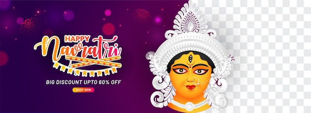 Indyjski festiwal religii navratri i baner durga puja