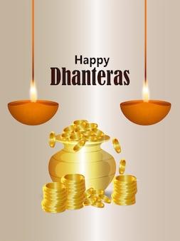 Indyjski festiwal szczęśliwa ulotka dhanteras celebration