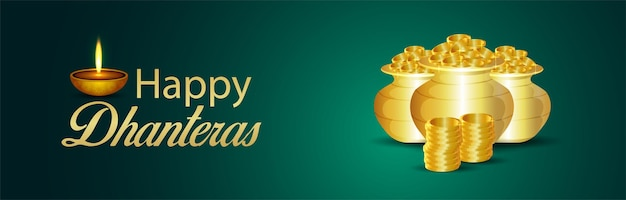 Indyjski festiwal szczęśliwy dhanteras celebracja baneru lub nagłówka