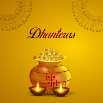 Indyjski festiwal szczęśliwy dhanteras celebracja kartkę z życzeniami ze złotym puli na monety na żółtym tle