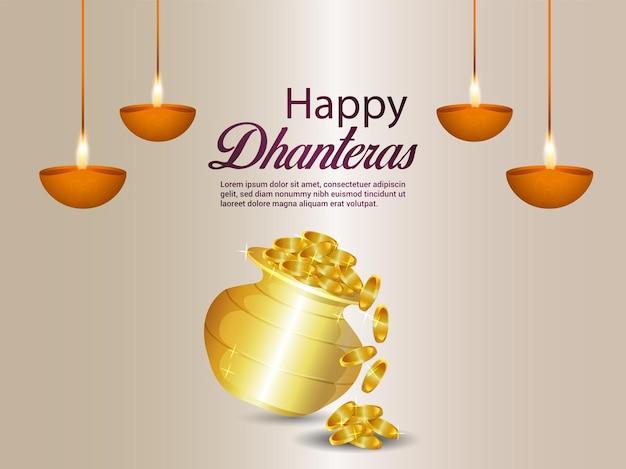 Indyjski festiwal szczęśliwy dhanteras tło uroczystości