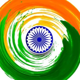 Indyjski flaga motywu akwarela wirowa tle