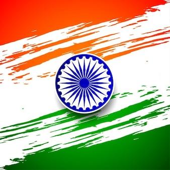 Indyjski flagi tricolor grungy tle