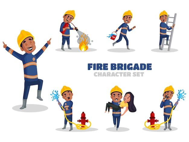 Indyjski ilustracja zestawu znaków człowieka straży pożarnej w stylu cartoon