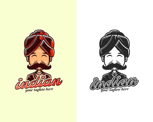 Indyjski kucharz znaków kolorowe logo kreskówka projekt. szablon projektu logo maskotki indyjskiego szefa kuchni