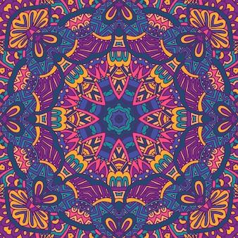 Indyjski kwiatowy wzór medalionu paisley etniczna mandala ornamentala