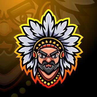 Indyjski maskotka głowa ilustracja esport