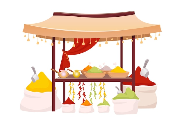 Indyjski namiot bazarowy z przyprawami i ziołami ilustracja kreskówka. markiza z rynku wschodniego z egzotycznymi przyprawami, tradycyjnym curry i płaskim przedmiotem w kolorze chili. wschodni baldachim na białym tle