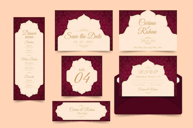Indyjski pakiet szablonów papeterii ślubnej