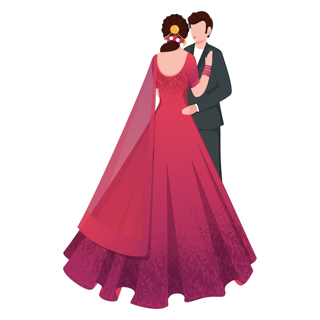 Indyjski Para Romantyczny Charakter W Pozie Stojącej. Premium Wektorów