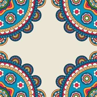Indyjski rossetes doodle hippie ramki