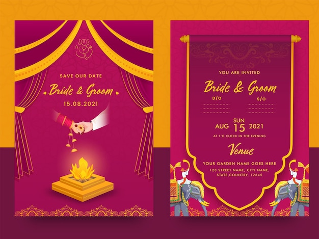 Indyjski ślub szablon karty z ogniskiem (agnikund) w kolorze różowym i pomarańczowym.