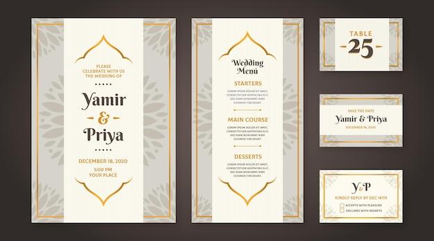 Indyjski ślubny styl papeterii