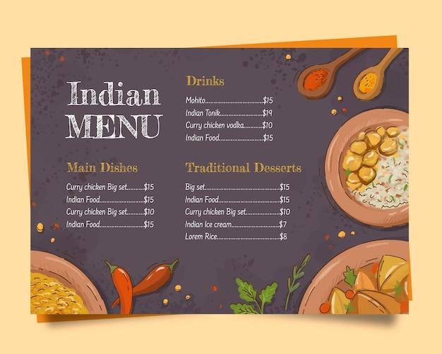 Indyjski szablon menu z ręcznie rysowanymi elementami