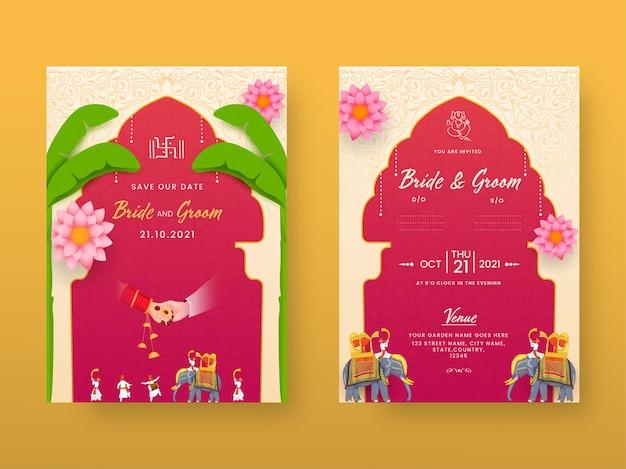 Indyjski układ szablonu zaproszenia na ślub z przodu iz tyłu widoku na żółtym tle.