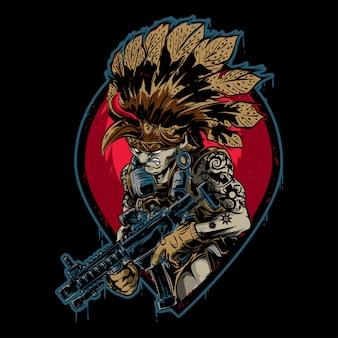 Indyjski wojownik z bronią