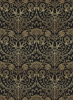Indyjski wzór z indyjski ornament paisley, lotos i kwiat złoty gradient na czarnym tle