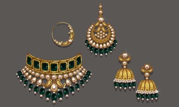Indyjski zestaw biżuterii ślubnej