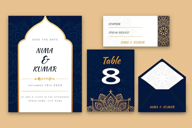 Indyjski zestaw papeterii ślubnej