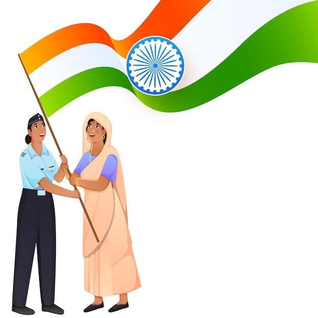 Indyjskie dwie kobiety trzymając flagę narodową na białym tle