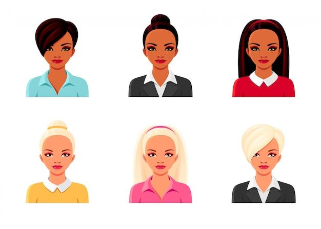 Indyjskie i europejskie dziewczyny w garniturach. zestaw żeńskich awatarów. pojedyncze ilustracje kobiet z różnymi fryzurami i ubraniami