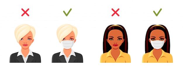 Indyjskie i europejskie kobiety w medycznych maskach na twarz. bezpieczeństwo podczas pandemii koronawirusa. zestaw żeńskich awatarów. ilustracja