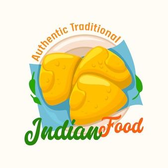 Indyjskie jedzenie, autentyczna tradycja etykiety z tradycyjnymi paszteciki na talerzu. restauracja orientalna godło kuchni na białym tle. projekt dla national idia cafe menu. ilustracja wektorowa